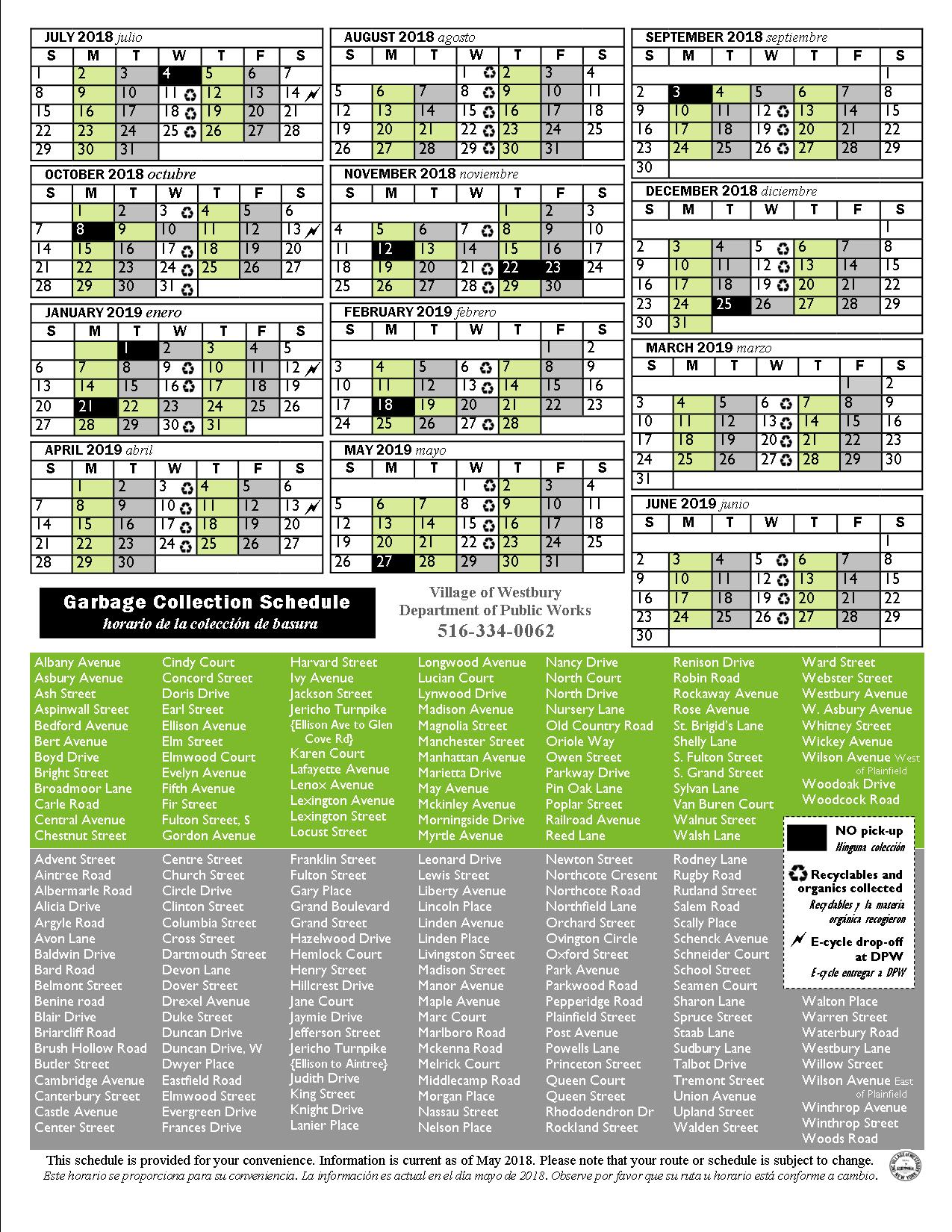 Nyc Sanitation Holiday Schedule 2020 Sanitation and Rubbish Pick up Schedules   Village of Westbury, NY